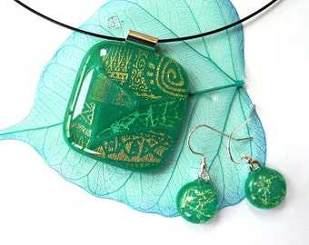Dichroic glass earrings ~ green dangle earrings,matching pendant, glass drops, fused glass jewelry, gift for colleague, Mum, girlfriend