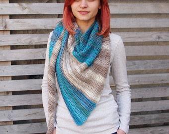 CROCHET PATTERN woman shawl, women asymmetrical shawl, wrap, scarf, block shawl,  Instant download
