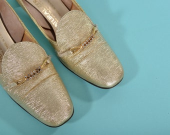 Vintage 1960s Gold Rhinestone Shoes - Metallic Lurex High Heels - Vegan Wedding Fashions Size 6 7 N