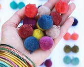 """Luxe Pom Poms with Loops for Jewelry, New FALL Pantone Colors, 1"""" Designer Jewelry Making Charms, Fall Fashion Trend, Handmade Cotton, Pairs"""