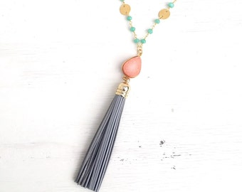 Tassel Necklace. Long Leather Tassel Necklace. Boho Necklace in Grey Peach and Aqua. Druzy Necklace. Tassel Bead Strand Necklace. Druzy.