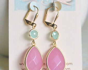 SALE Pink Teardop Stone and Aqua Dangle Earrings in Gold.  Bridesmaid Jewelry. Drop Earrings. Dangle Earrings. Gift. Wedding Gift.