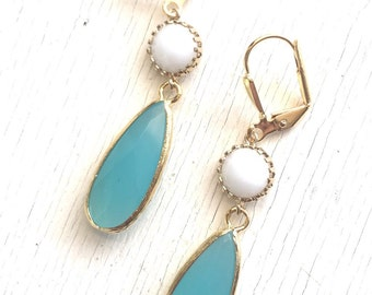 White and Turquoise Jewel Dangle Earrings. Bridesmaids Earrings. Modern Fashion Earrings. Turquoise White Earrings. Christmas Gift.