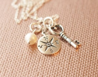 Sterling Silver Compass and Heart Key Charm Necklace- Graduation, Friend, Long Distance, Family