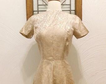 1960s Brocade Dress Vintage 60s Metallic Floral Dress - XS