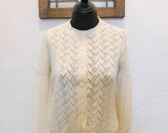 1950s Pointelle Cardigan Vintage Ivory Sweater - M / L