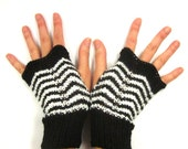 Black and White Chevron Stripe Fingerless Gloves Handwarmers Hand Knitted Mittens Women Teen Girl Fall and Winter Accessories One of a Kind