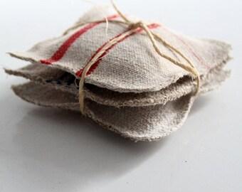 SALE lavender sachets with antique homespun linen set of 3, grain sack sachets