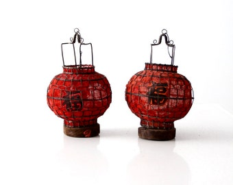 pair Chinese red lanterns, vintage good luck lanterns