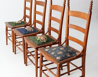 SALE antique ladder back chairs with needlepoint seat