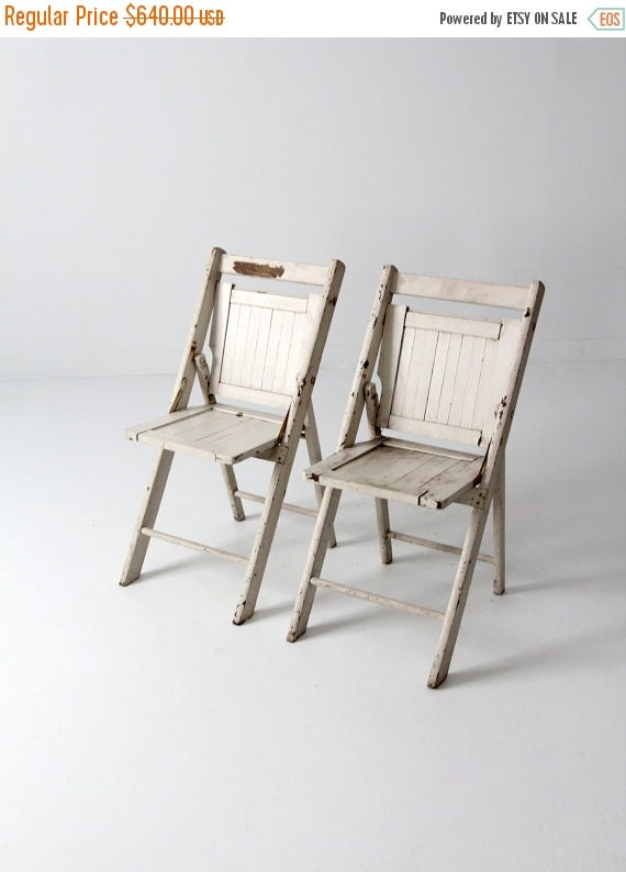 SALE vintage wood folding chairs pair white slat chairs