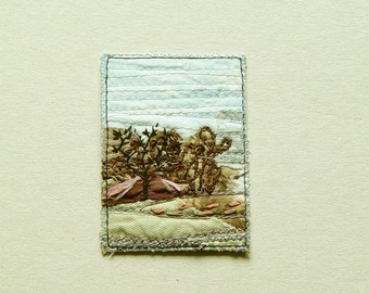 Landscape in neutrals, ACEO original textile art, 2.5 x 3.5, brown beige blue black, collectors item, perfect gift, affordable art