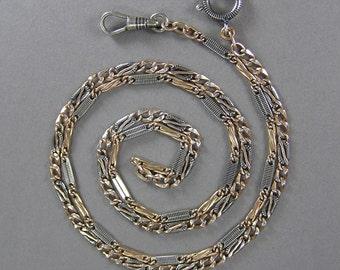 Antique Niello Chain, Rose Gold Gilt, Niello Necklace, 800 Silver, Chain Necklace, Edwardian, Victorian, Enameled, Vintage European Jewelry