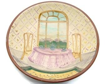 Vintage Hand Thrown Art Pottery Serving Bowl - Artist Signed