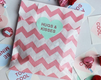 24 Candy Bags with Valentine's Conversation Heart Stickers, Chevron Stripe Wedding Favor Bags, Candy Bags with Valentine's Stickers