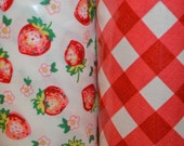 Michael Miller. Laminates. Strawberry Blossom Berry and Bias Gingham Red - BTY - Choose your cut and fabric.