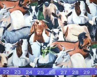 Elizabeth Studios. Packed Goats - Cotton Fabric BTY - Choose your cut