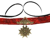 Red Choker Gothic Medallion Necklace Steampunk Vampire Victorian Cosplay Costume