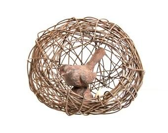 Rusty Wire Art Grotto Nest -- Handmade Nature Inspired Random Weave Rustic Wire Bird Nest Basket