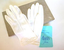 Vintage White Dress Gloves Women's 50's Scallop/eyelet HANSEN NOS Church Bride Easter Prom