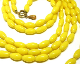"""Vintage Yellow Necklace Glass Beads XL 31"""" JOY brand Flapper Style Spring Easter Prom"""