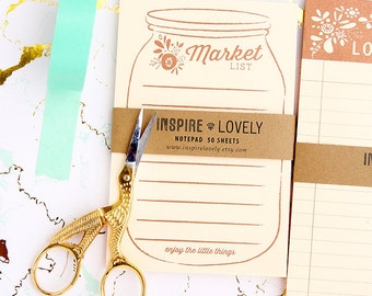 Mason Jar Market list Exclusive Notepad- Perfect gift for all mason jar design lovers! Teachers+students+farmers market+notetaker+planner