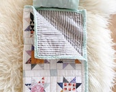 """ORGANIC DOLL SLEEPINGBAG quilt baby blanket, sleeping bag, changing pad, placemat, american girl 18"""" doll size"""