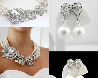 Pearl Statement Necklace and Earring Set, Bridal Pearl Jewelry Set, Statement Wedding Jewelry, Swarovski Crystal Jewelry, Cubic Zirconia Set