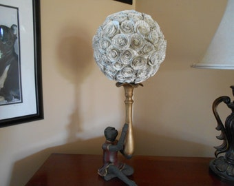 made to order. Book page pomander, sphere, kissing ball. wedding, centerpiece