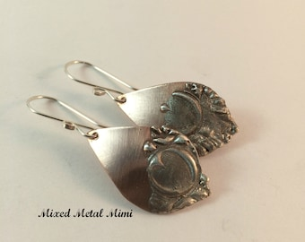 Copper Silver Earrings Sterling Silver Mixed Metals Stamped Jewelry Heart Stamp E-040