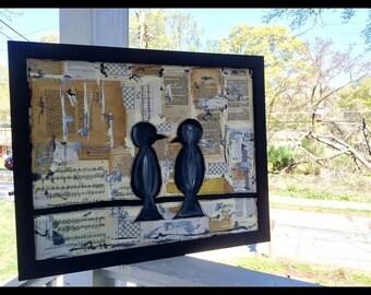 Music art painting bird book art blackbirds Beatles mixed media collage original art print home decor music gift PRINT
