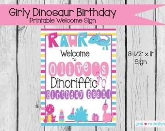 Girly Dinosaur Birthday printable Welcome Sign