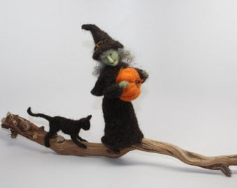 Needle Felted  Set Witch , Black Cat and Pumkin