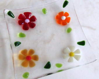 Fused Glass Plate, Glass Ring Holder, Red Flowers Glass Dish, Glass Jewelry Holder, Mothers Day Soap Dish, Birthday Glass Gift, Glass Flower