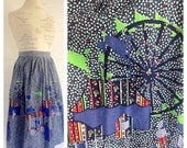 Vintage CARNIVAL 70s Skirt in Complete w a FERRIS WHEEL