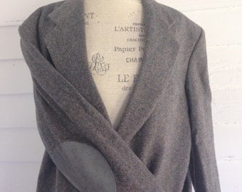 Vintage Gray Wool Professor's Jacket w Gray Suede Elbow Patches