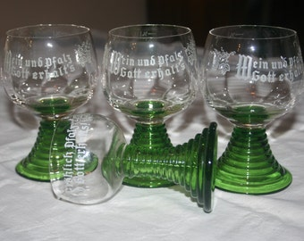 4 Roemer Glass Wine Toasting Glasses Green Spiral Stem Etched Grapes with German Saying