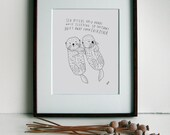 Sea Otter Art Print, Personalized Wedding Gift, Wedding Gift Idea, Anniversary Gift Idea, Baby Shower Gift, Kid's Room Art, 8x10, Line Art