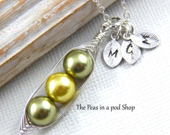 Three Peas In A Pod Shades Of Green Personalized Necklace LAST ONE