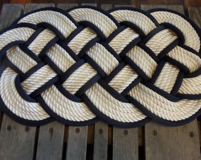 "White and Navy Rope Rug  30 x 12"" Rope Rug Beautiful Knotted Made in USA"