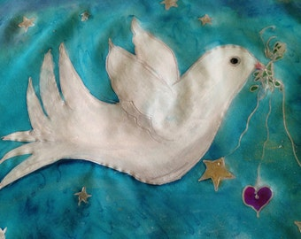 Handpainted Christmas Silk Peace Dove in Silver by The Silk Maid