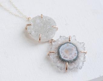 Amethyst + Druzy Necklace | 14k Gold Fill