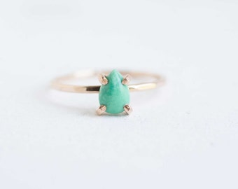 Pear Cut Turquoise Ring | 14k Gold Fill | Natural Turquoise Stacking Ring