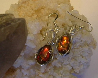Bright Red to Orange Fire Gem Ammolite as Pebble Jewelry from Utah Deposit in Argentium Sterling Silver Wire Wrapped Post Earrings 474