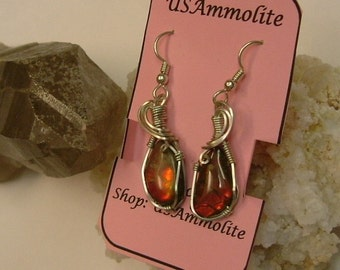 Bright Red Fire Gem Ammolite Pebble Jewelry from Utah Deposit in Argentium Sterling Silver  Wire Wrapped Earrings 501
