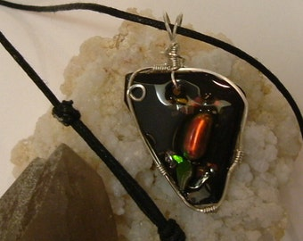 Bright Red, Green and Gold Gem Ammolite From Utah Deposit, Fishing Fly Mens Cord Necklace Wire Wrapped w/Argentium Silver 614