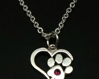 Silver Pet Memorial Paw Heart Necklace Jewelry - Dog and Cat Keepsake Remembrance Necklace, Pet Lost Necklace