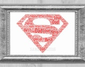 SuperMan Personalised Word Art Birthday Gift Christmas Fathers Day
