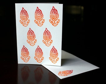Hand Block Printed Blank Cards with Envelopes, Blank Cards Set, 3 pack handprinted cards, Floral Card