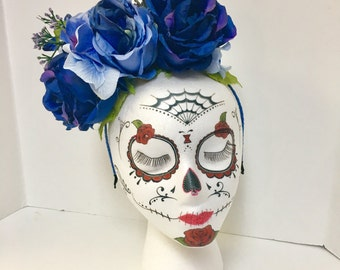 Blue flower headband rose crown Day of the Dead Halloween Dia de Los Muertos Roses Frida Kahlo photo shoot prop fairy Cosplay headpiece